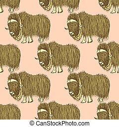 Sketch fancy yak in vintage style, vector seamless pattern