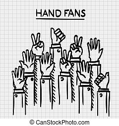 Sketch fans hands up. - Sketch fans hands up art Vector...