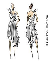 Sketch Fashion Poses - a woman with