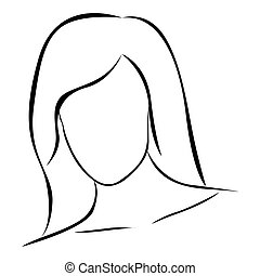 sketch female front view faceless silhouette icon