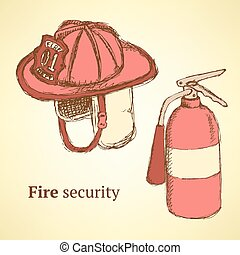 Sketch fire helmet and extinguisher in vintage style, vector