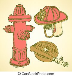 Sketch fire protection set vintage style, vector