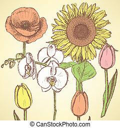 Sketch flowers, vector vintage backgrounds