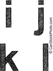 Sketch font set - lowercase letters i, j, k, l