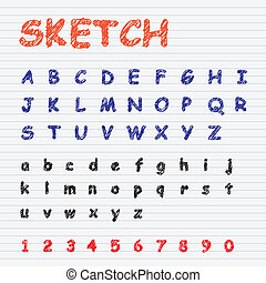 Sketch Font Vector Set