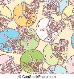Sketch football helmet, vector  seamless pattern