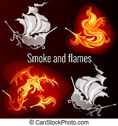 Sketch for a poster on the theme of fire and smoke. Patterns in the form of ships, the dragon and the fiery feather of a fire bird. Vector cartoon close-up illustration.