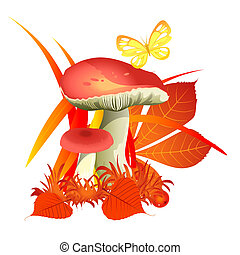 Sketch for a poster on theme of nature Golden autumn. Ripe mushrooms under the fallen yellowed leaves of trees in autumn forest isolated on a white background. Vector cartoon close-up illustration.