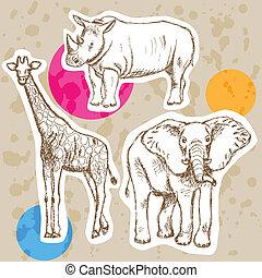 Sketch giraffe, elephant, rhino, vector background