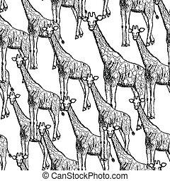 Sketch giraffe, vector vintage seamless pattern