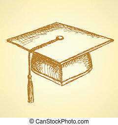 Sketch graduation cap, background in vintage style