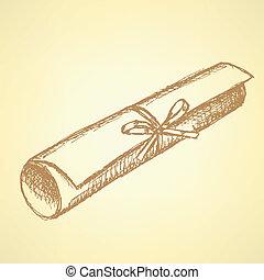Sketch graduation diploma scroll
