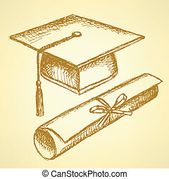 Sketch graduation hat and diploma scroll with ribbon