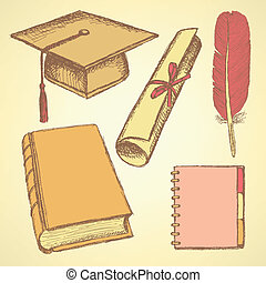 Sketch graduation hat, book, notebook, feather pen and diploma s
