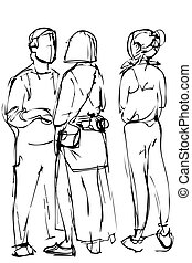 sketch group of young people