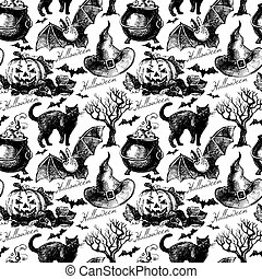 Sketch Halloween seamless pattern. Hand drawn vector ...