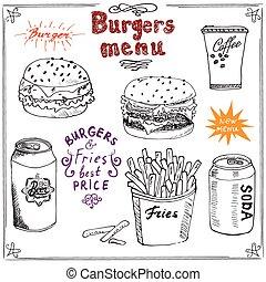 sketch., hamburger, menu, main, dessiné
