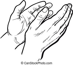 Hands clap. Vector hand drawn. Circuit hands. Symbol of applause. Bravo. Applause in sketch style. Hands clap. Narisovanna hands clapping in support. Success. Hands on a white background.