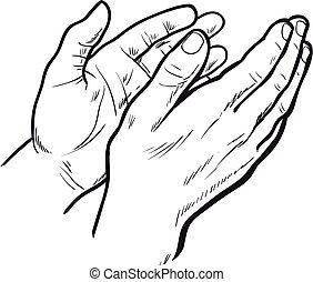 Sketch hand clap her hands, bravo - Hands clap. Vector hand...