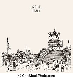 sketch hand drawing of Piazza Venezia in Rome - Altar of the Fat