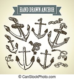 Sketch Hand drawn anchor. Set