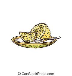 Sketch hand drawn lemons on plate, flat cartoon vector illustration isolated