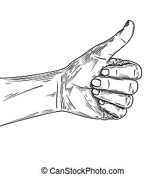 Sketch hand with a raised thumb. Hitchhiking sign, good.