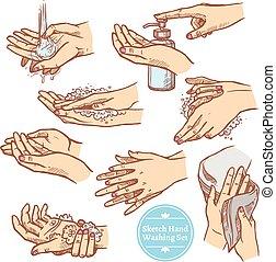 Sketch Hands Washing Hygiene Set - Colorful sketch hands ...