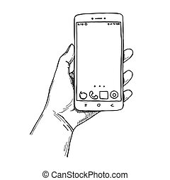 Sketch hands with the phone isolated on a white background. Vector
