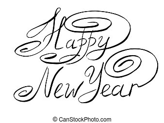 sketch happy new year hand lettering