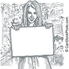 Sketch Happy Woman Holding Blank White Card Against Love Story Background