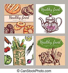 Sketch Healthy Food Icon Set