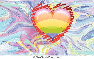 sketch heart on rainbow liquid art