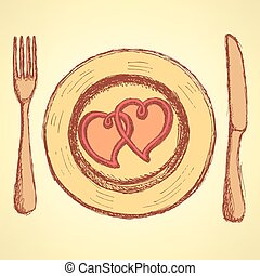 Sketch  hearts on the plate in vintage style