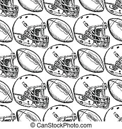 Sketch helmet and american football ball