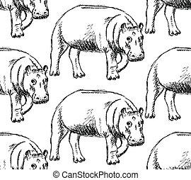 Sketch hippo, vector vintage seamless pattern
