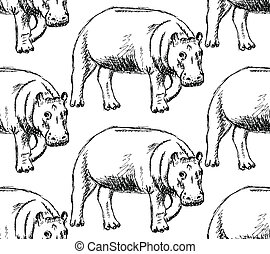 Sketch hippo, vector vintage seamless pattern