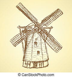 Sketch Holand windmill, vector vintage background eps 10