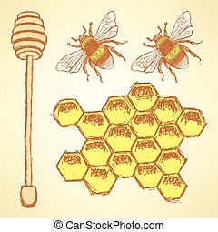 Sketch honey cells, stick and bee in vintage style, vector