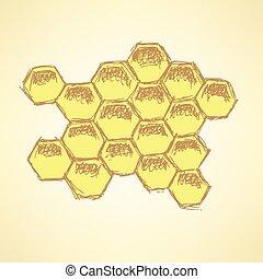 Sketch honey cellsl in vintage style, vector