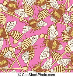 Sketch honey stick and bee in vintage style, vector seamless...