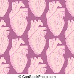 Sketch human heart in vintage style