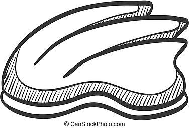 Sketch icon - Bicycle helmet - Bicycle helmet icon in doodle...