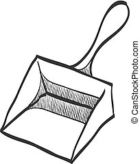 Dustpan icon in doodle sketch lines. Cleaning tool household domestic work