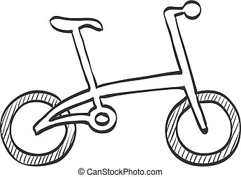 Sketch icon - Folding bicycle - Bicycle icon in doodle...