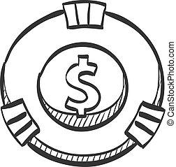 Sketch icon - Gambling coin