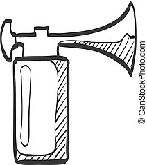 Sketch icon - Gas horn - Gas horn in doodle sketch lines....