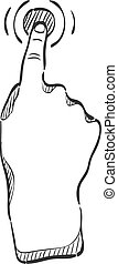 Sketch icon - Gesture - Finger gesture icon in doodle sketch...