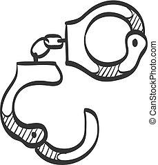 Sketch icon - Handcuff - Handcuff icon in doodle sketch...