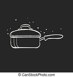 Sketch icon in black - Cooking pan